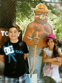 DSCN1034 - Hunter and Emily meet Smokey Bear