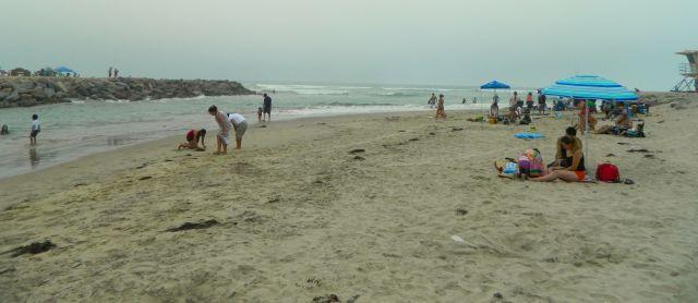The Santa Ana River reaches the Pacific Ocean