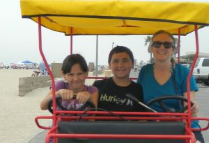 Emily, Hunter, and I at Huntington Beach, where the Santa Ana River meets the Pacific Ocean.